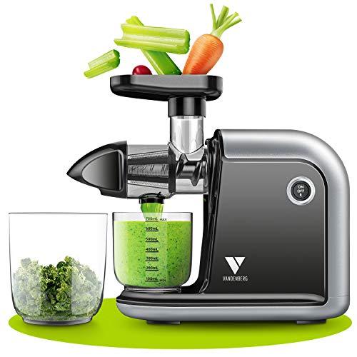 Vandenberg Slow Juicer - Leiser Entsafter Gemüse und Obst [150 W]- Vitaminschonende Saftpresse elektrisch mit...