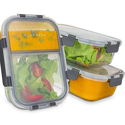 GLASWERK Meal Prep Boxen (3 Stück - 1040ml) - Frischhaltedosen aus Glas mit 2 getrennten Fächern - 100%...