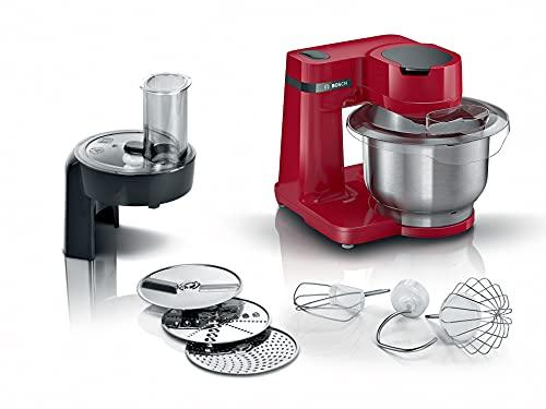 Bosch Küchenmaschine MUM Serie 2 MUMS2ER01, Edelstahl-Schüssel 3,8 L, Planetenrührwerk, Knethaken, Schlag-,...