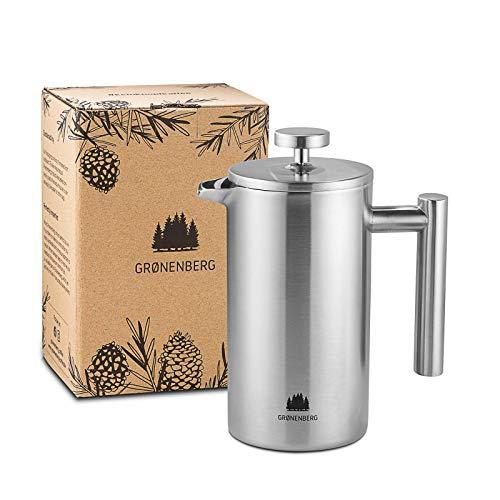 Groenenberg French Press aus Edelstahl | 0,6 Liter (3 Tassen) | Erhältlich in 3 Größen | Thermo...