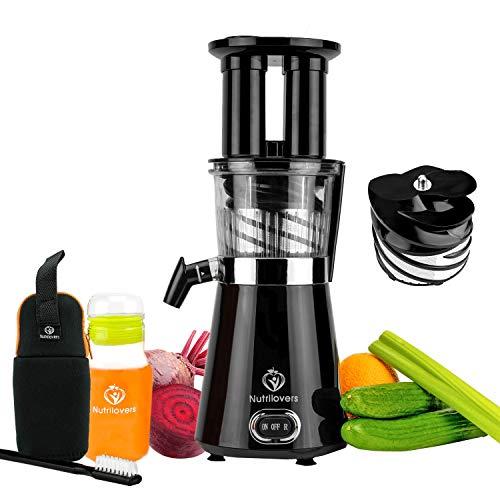 NUTRILOVERS Slow Juicer Entsafter - BPA-frei   Elektrische Obst & Gemüse Saftpresse   BPA-Frei   Geringe...
