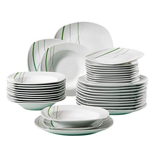VEWEET, Tafelservice 'Aviva' aus Porzellan 36 teilig | Tellerset für 12 Personen | Mit je 12 Dessertteller,...