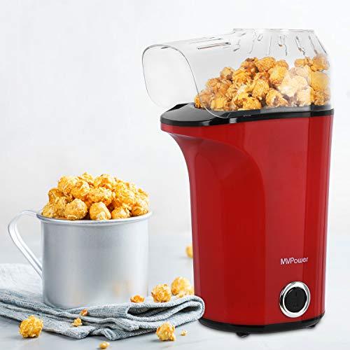 MVPower Popcornmaschine, 1400W Automatische Popcorn Maker, Leistungsstarkes Heißluft Ohne Öl, Abnehmbarem...