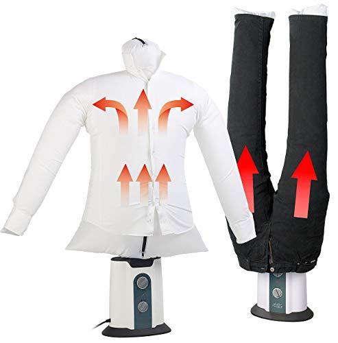 Sichler Haushaltsgeräte Bügelautomat: 2in1-Bügelpuppe inkl. Hosen-Aufsatz, Gebläse & Kleiderständer,...