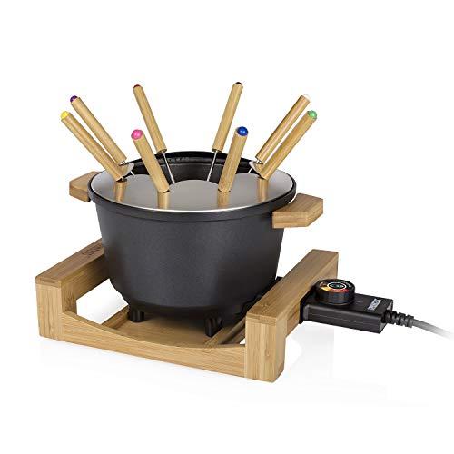 Princess Bambus Fondue Pure Black - geeignet für bis zu 8 Personen, 800 Watt, 1,5L Fasssungsvermögen,...