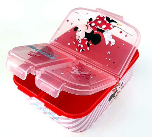 Minnie Maus Kinder Brotdose mit 3 Fächern, Kids Lunchbox,Bento Brotbox für Kinder - ideal für Schule,...
