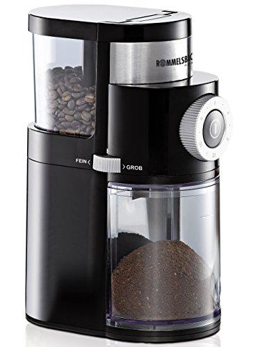 ROMMELSBACHER Kaffeemühle EKM 200 – aromaschonendes Scheibenmahlwerk, Mahlgrad einstellbar von grob bis...