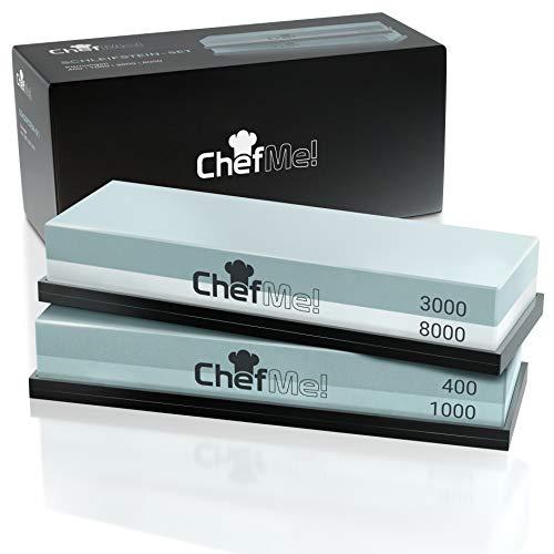 ChefMe! Schleifstein Set 4-in-1 mit deutscher Anleitung 400/1000/3000/8000 - Wetzstein zum Messer schärfen...