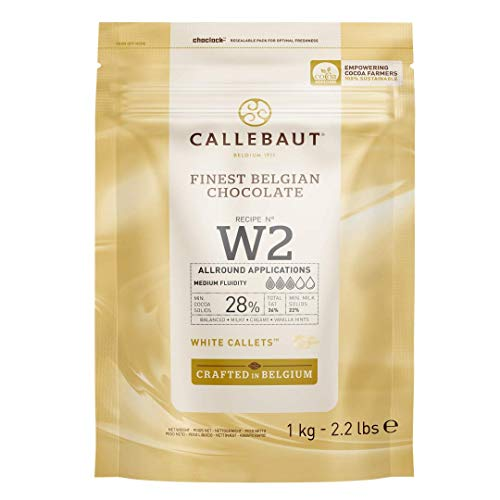 CALLEBAUT Receipe No. W2 - Kuvertüre Callets, Weiße Schokolade, 28% Kakao, 1kg - 1er Pack