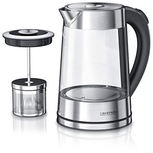 Arendo - Glas Wasserkocher mit Temperatureinstellung und Teesieb Teekocher - Einstellbare Temperaturen 40, 70,...