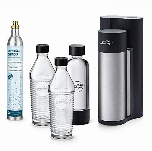Sodapop HAROLD - Trinkwassersprudler inklusive zwei Glaskaraffen, einer PET Flasche und CO2-Zylinder, black...
