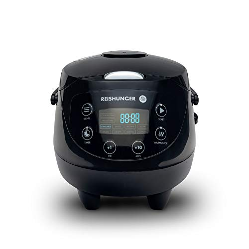 Digitaler Reishunger Mini Reiskocher und Dampfgarer in Schwarz - Warmhaltefunktion, Timer & Premium Topf -...
