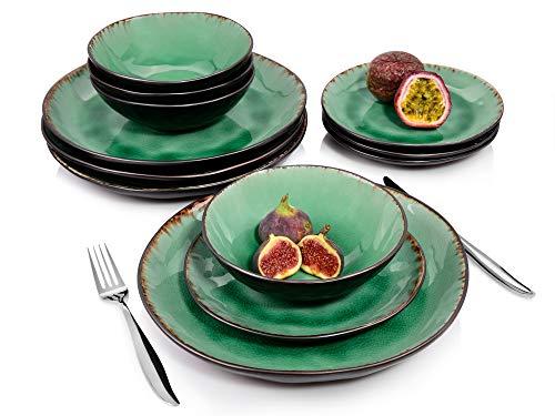 Sänger Tafelservice Palm Beach - 12 teiliges Geschirr-Service für 4 Personen, farbiges Teller-Set aus...