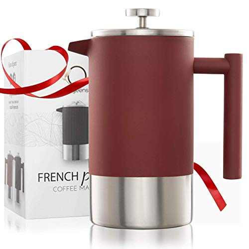 Origeens  French Press Kaffeebereiter 1L | Isoliert, Edelstahl Doppelwandig, mit Messskala | Kaffeekanne -...