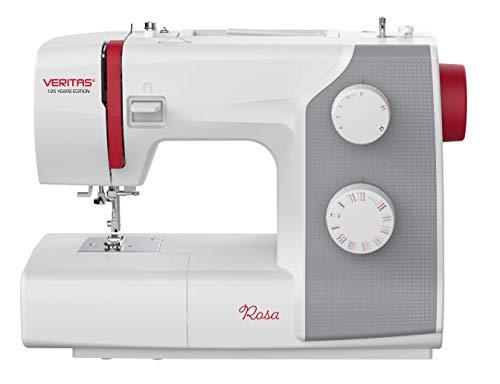 VERITAS Nähmaschine Rosa - 4-Stufen-Knopflochprogramm, 23 Stichprogrammen, für Feste Stoffe, inkl....