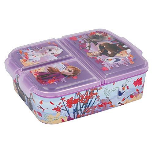 Frozen Eiskönigin Kinder Brotdose mit 3 Fächern, Kids Lunchbox,Bento Brotbox für Kinder - ideal für...
