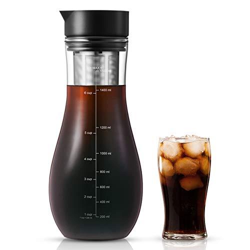 1,5L Kaffeebereiter für Cold Brew, Kaltbrüh-Kaffeemaschine mit luftdichtem Deckel Eiskaffee-Glaskrugbrauer...
