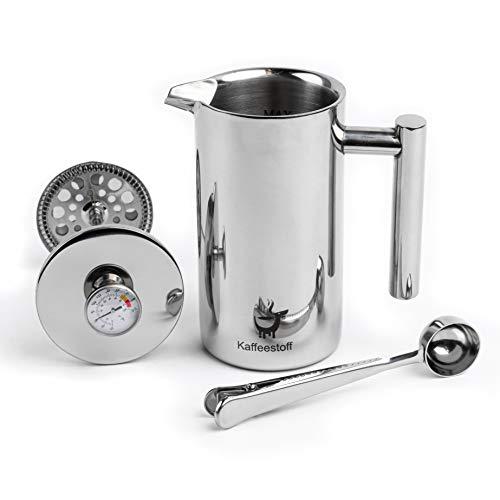 Kaffeestoff French Press mit Thermometer | Kaffeebereiter French Press Edelstahl für 3 Tassen 0,7 l | Coffee...