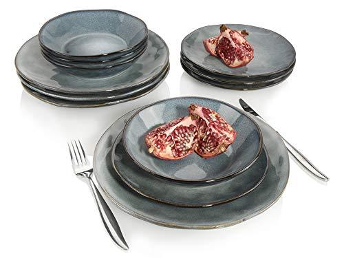 Sänger Tafelservice Darwin 12 teiliges Geschirr-Service für 4 Personen aus Steingut, Speise-, Dessertteller...