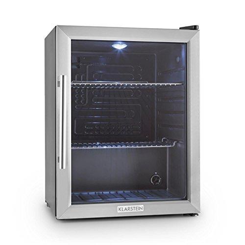 Klarstein Beersafe XL - Minibar, Mini-Kühlschrank, Getränkekühlschrank, leise, 42 dB, Edelstahl, Glastür,...