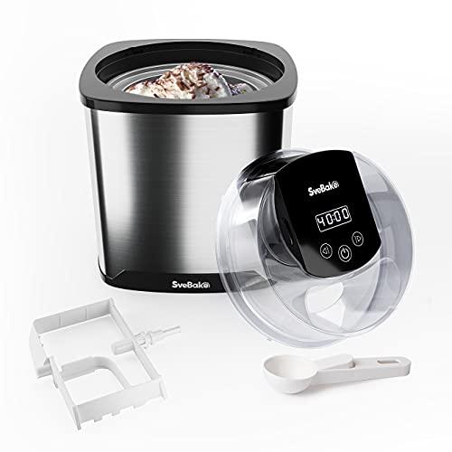 SveBake Eismaschine mit 2 Liter Gefrierbehälter und Edelstahl Chassis - Digitaler LED Timer & Deckelöffnung,...