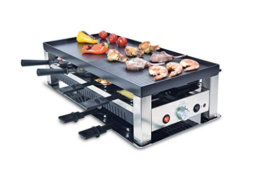 Solis Grill 5 in 1, Raclette/ Tischgrill/ Wok/ Crêpes/Pizza, 8 Personen, Edelstahl, Table Grill 5 in 1 (Typ...