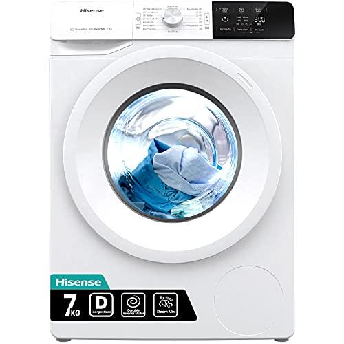 Hisense WFGE70141VM/ S Waschmaschine mit Dampf/ Inverter Motor/ Aqua Stop/ Slim Line/ 7kg/ Automatikprogramm/...