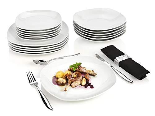 Sänger Tafelservice Bilgola – 18 teiliges Geschirr-Service für 6 Personen, weißes Teller-Set aus...
