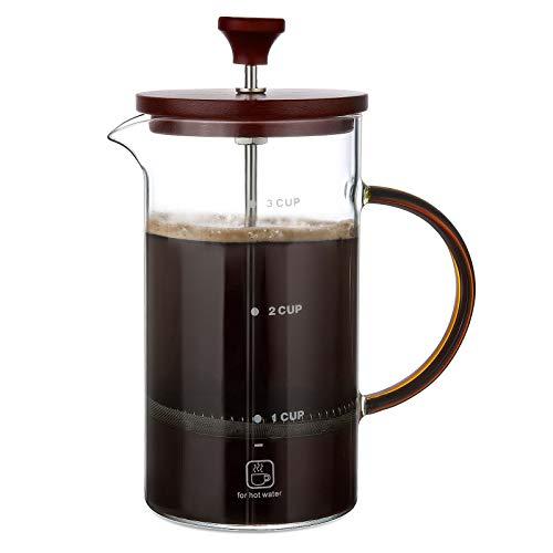 ZWOOS French Press Kaffeebereiter 800ml - Kaffeepresse Glas - Kaffeezubereiter, 3 Tassen