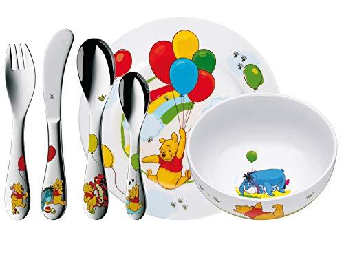 WMF Disney Winnie Pooh Kinder Geschirrset 6-teilig, Kindergeschirr mit Kinderbesteck Edelstahl, ab 3 Jahre,...
