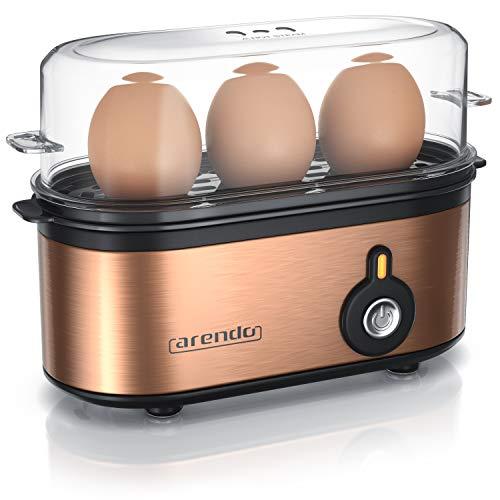 Arendo - Edelstahl Eierkocher Threecook - Egg Cooker - EIN AUS-Schalter - Wählbarer Härtegrad - 210 W - 1-3...