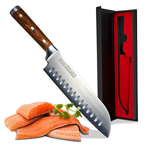 Zolmer® Profi Santokumesser aus deutschem Carbon Edelstahl und Pakkaholz - Rostfreies Sushi Messer mit...