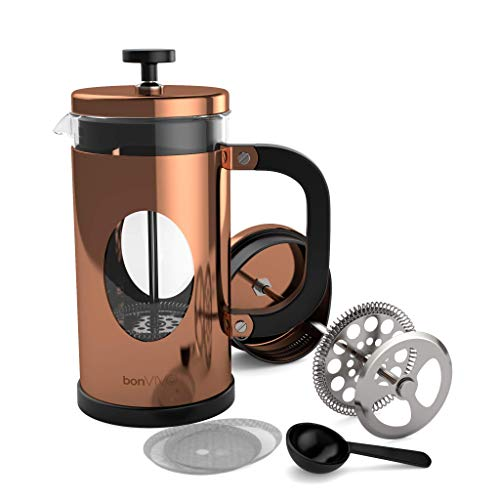 BonVivo GAZETARO I French Press - Design-Kaffeebereiter in Kupfer-Optik - Kaffeekocher aus Glas mit...