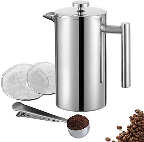 Meelio Kaffeepresse,French Press 0.35L, aus hochwertigem Edelstahl, mit Zwei zusätzlichen Filtersieben und...