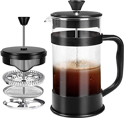 KICHLY French Coffee Press 34 Oz - 1000 ml - Espresso - und Teemaschine mit Dreifachfiltern, Edelstahlkolben...