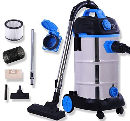 Masko® Industriestaubsauger - blau, 1800Watt ✓ Mit Steckdose ✓ Blasfunktion ✓ | Mehrzwecksauger...