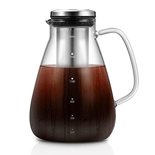 1,5L Cold Brew-Kaffeebereiter, Kaltbrüh-Kaffeemaschine, Trinkfertige Kalten Schwarzen Kaffee Brauen Glaskanne...