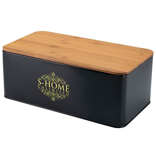 S-Home Unlimited Brotkasten 33 x 18 x 12 cm aus Edelstahl mit Bambus Schneidebrett inklusive...