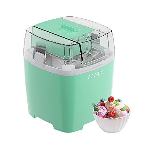 FOOING Eismaschine Speiseeisbereiter 1,5L mit Drehknopf (5 bis 30 Minuten), Edelstahl-Heim-Speiseeismaschine,...
