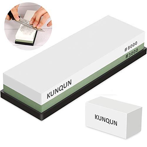 KUNQUN Schleifstein Set, 3000 8000 Wetzstein Fuer Messer, 2 Seite Körnung Abziehstein Schleifstein nass mit...