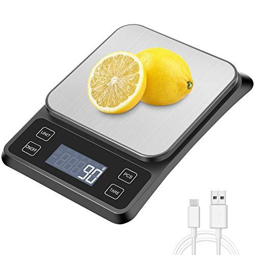 MOSUO Küchenwaage Digitale 10kg mit USB Aufladen Digitalwaage Electronische Waage Briefwaage LCD Dislay,...