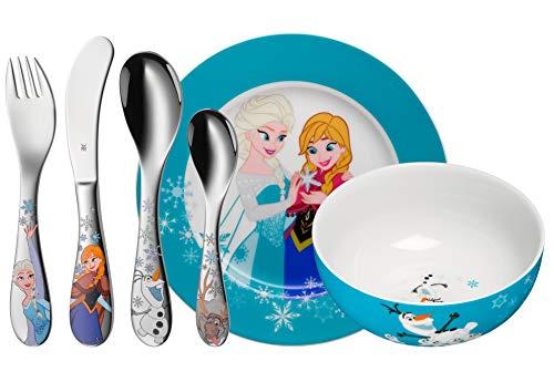 WMF Disney Frozen Kinder Geschirrset 6-teilig, Eiskönigin Elsa & Anna, Kindergeschirr mit Kinderbesteck...