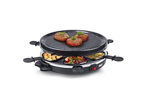 Princess 162725 Raclette und Antihaftbeschichtung Grill-Set für 6 Personen, 800 Watt