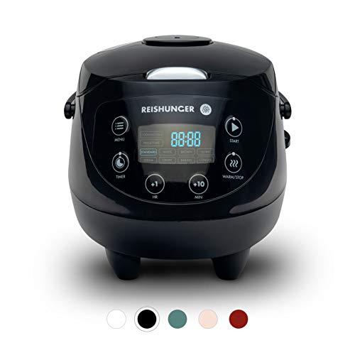 Digitaler Reishunger Mini Reiskocher (0,6l/350W/220V) Multikocher mit 8 Programmen, Schwarz,...