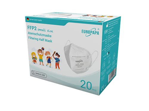 EUROPAPA 20x Mini FFP2 Maske Model S in Kleiner Größe Mundschutz Masken Atemschutzmasken 5-lagig hygienisch...