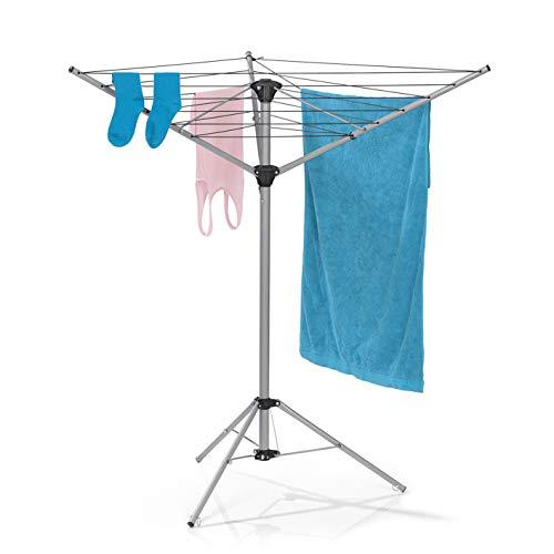 EASYmaxx Wäschespinne | zusammenklappbarer Wäscheständer für innen und außen | wetterfest und leicht | 4...
