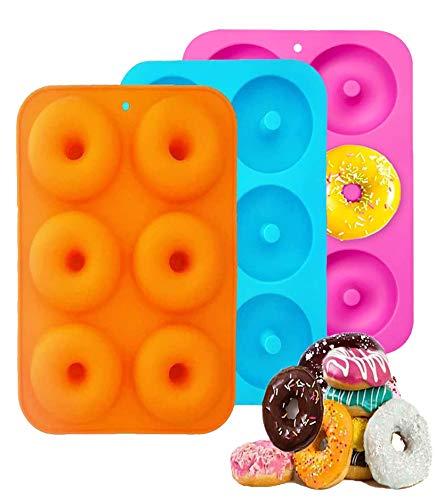 3 stücks Silikon Donutform Donut Backform,Donuts backform,Donut maker,6 Hohlraum Antihaft-Safe Backblech...
