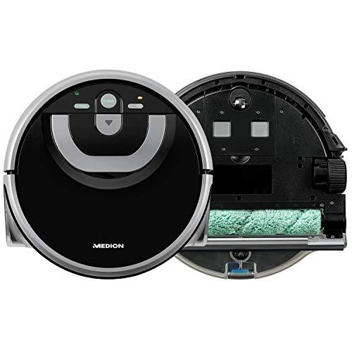 MEDION Wischroboter mit intelligenter Navigation (80 Min Laufzeit, vollautomatische Nassreinigung, 0,8 l...
