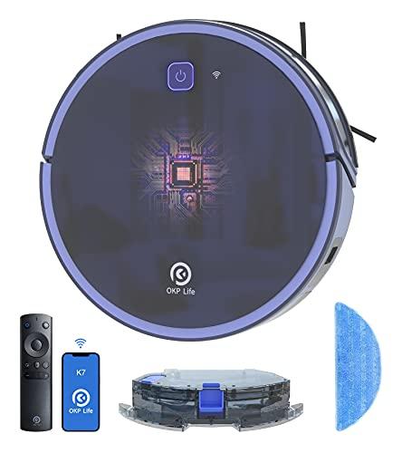 OKP K7 saugroboter mit wischfunktion, 2200Pa, WLAN Staubsauger Roboter mit Alexa und APP Sprachsteuerung,...
