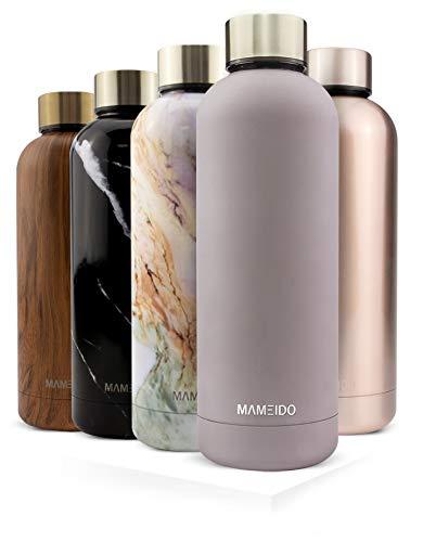 MAMEIDO Trinkflasche Edelstahl - Taupe Grau Gold - 500ml, 0,5l Thermosflasche - auslaufsicher, BPA frei -...